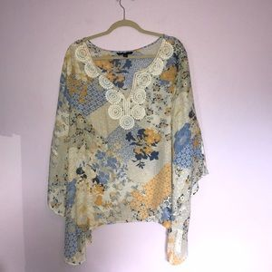 Tops - NWT Zoe & Rachel Blue and Gold Blouse